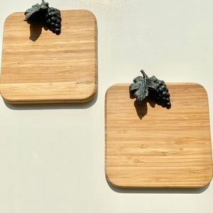 Wooden Cheese Boards decorated with metal grapes